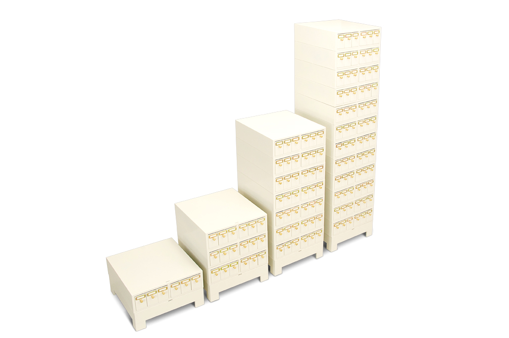 Microscope slide cabinets stacked to different heights showing their use as modular cabinets.