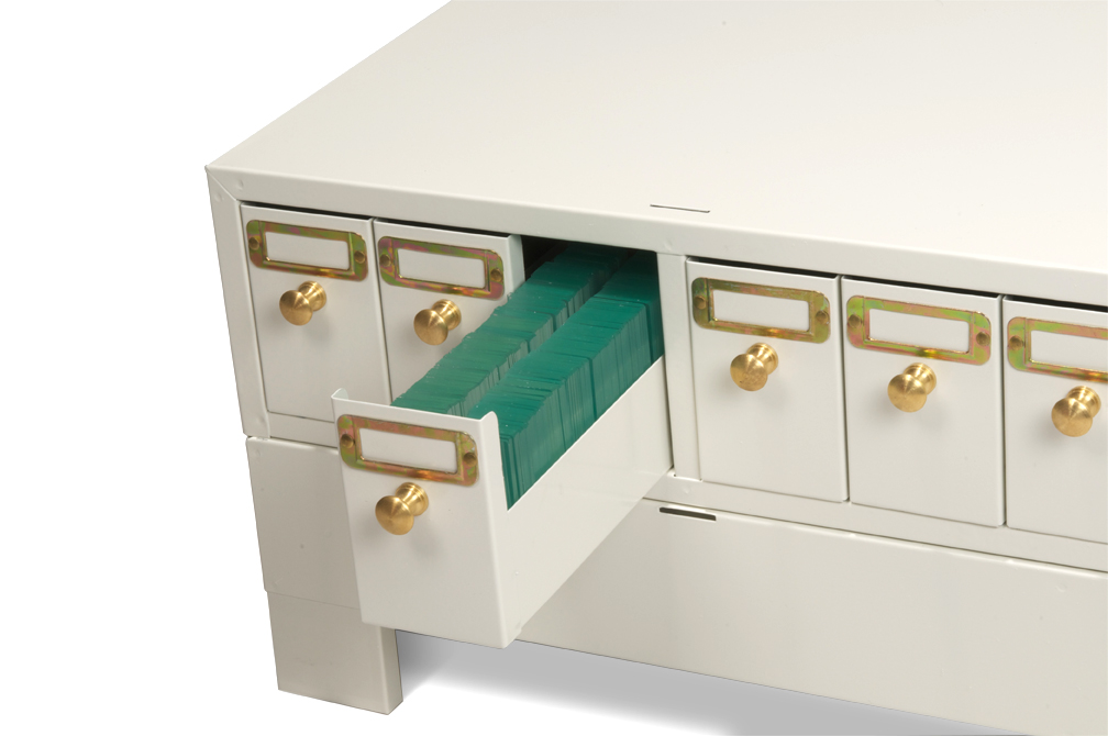 Slide storage cabinet with drawer out